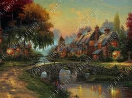"Diamond painting ""Houses at stone bridge"""