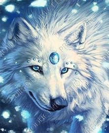 "Diamond painting ""White Wolf"""
