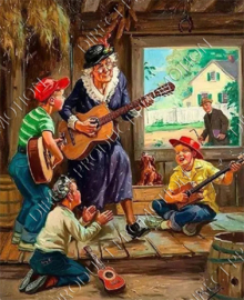 "Diamond painting ""Grandma and children playing guitar"""