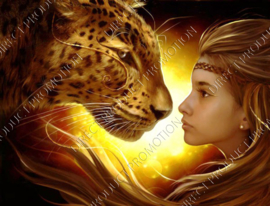 "Diamond painting ""Leopard and girl"""