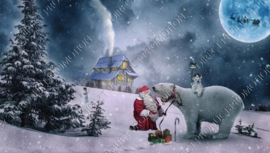 "Diamond painting ""Santa with polar bear"""
