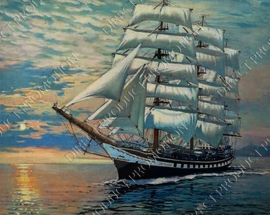 "Diamond painting ""Ship with white sides"""