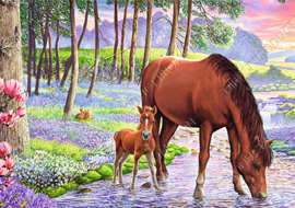 "Diamond painting ""Mare with foal"""