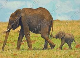 "Diamond Painting ""Elephant and cub"""