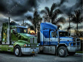"Diamond painting ""Two American trucks"""