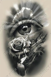 """Diamond painting """"Eye with rose, candle and barbed wire"""""""