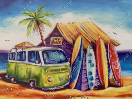 "Diamond painting ""Volkswagen van on the beach"""