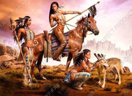 "Diamond painting ""Indians with horse and wolf"""