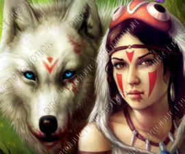 "Diamond painting ""Wolf with Indian"""