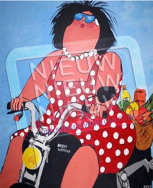 "Diamond painting ""Fat lady on motorbike"""