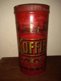 Grote rode koffieblik van vestingbrocante