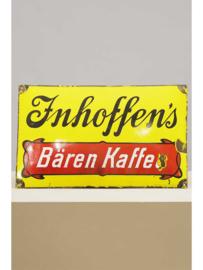 Emaille reclamebord Innhoffen's Bären Kaffee, Frankfurt, 1e helft 20e eeuw.