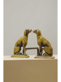 Decoratieve vuurbokken, twee bronzen honden, Europees, rond 1900.