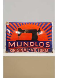 Emaille reclamebord, Mundlos Victoria naaimachines, Magdeburg, 1e helft 20e eeuw.