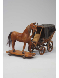 Nürnberg speelgoed, paard en koets, Duitsland, rond 1900.
