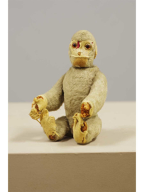 Speelgoed aap met beweegbare kop. De kop beweegt door zijn staart te bewegen, Schuco yes/no, Duitsland, 1e helft 20e eeuw.