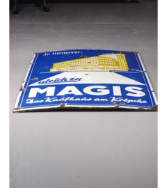 Kaufhaus Magis, emaille reclamebord, Hannover, midden 20e eeuw.