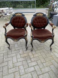 Vrijmetselarij,  paar houten fauteuils, armstoelen, 19e eeuw.
