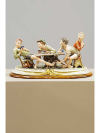 Porseleinen beeldengroep, King's, Capodimonte, Italië, 20e eeuw.