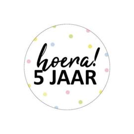 Sticker | Hoera! 5 jaar