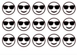 Traktatiesticker | Emoji zonnebril 20 stuks