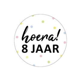 Sticker | Hoera! 8 jaar