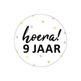 Sticker | Hoera! 9 jaar