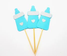 Cupcakeprikker | Zuigfles blauw