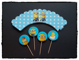 Cupcakewikkel   Minions blauw