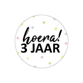 Sticker | Hoera! 3 jaar