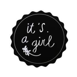Sticker | it's a girl zwart
