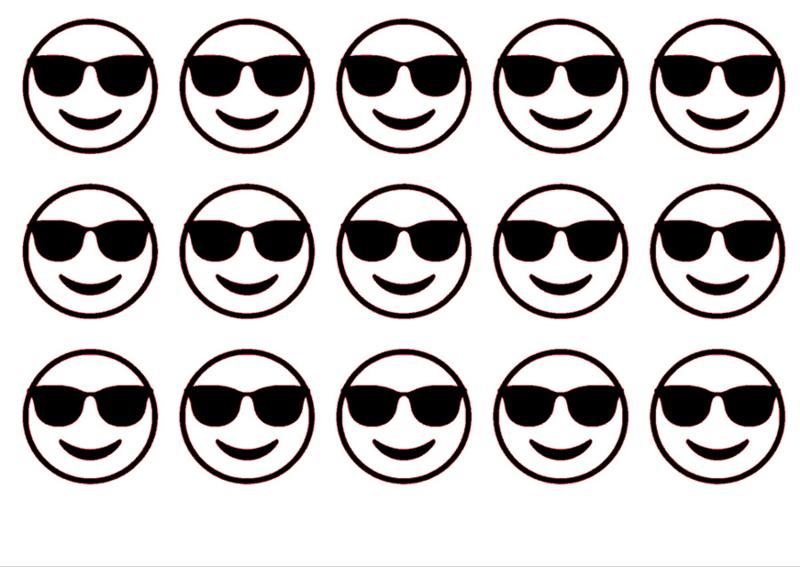 Traktatiestickers | Emoji zonnebril 20 stuks