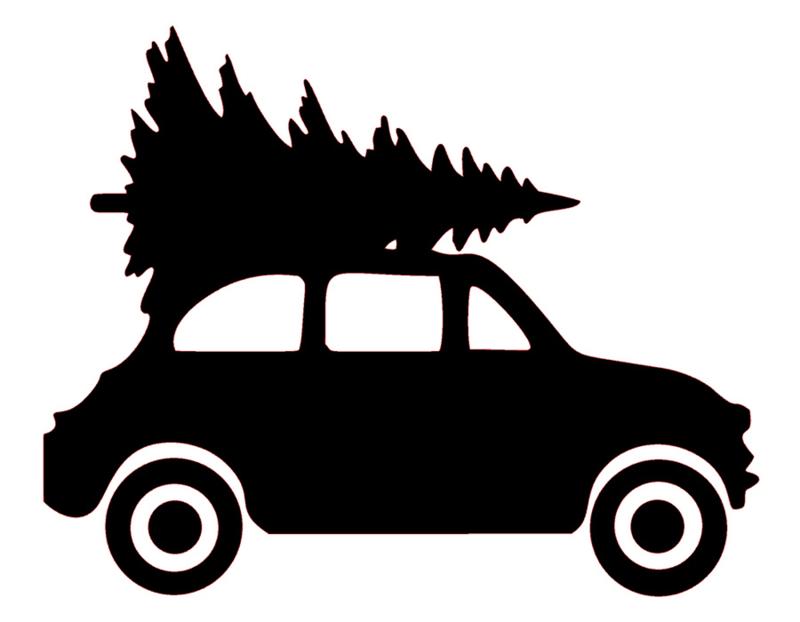 Raamsticker | Auto met kerstboom