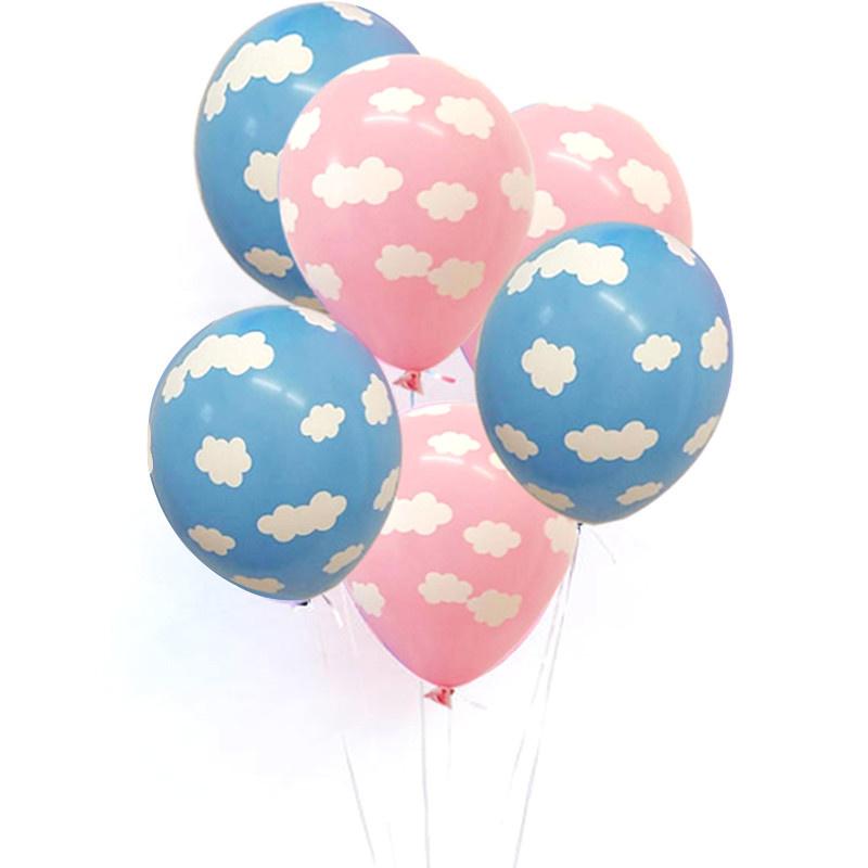 Ballon | Blauw met witte wolkjes