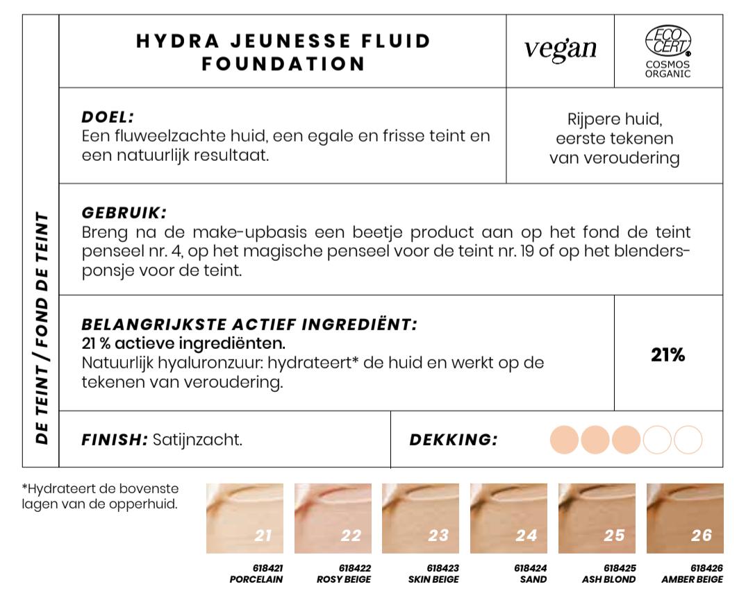 Biologische vloeibare Foundation Hydra Jeunesse Couleur Caramel