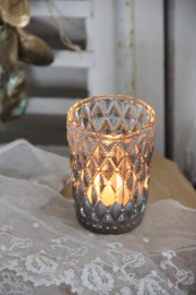 Waxinehouder zilver glas
