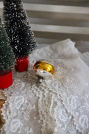Kerstbal zilver met goudband