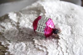 Kerstbal roze/zilver