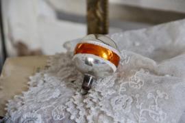 Kerstbal zilver met koperen band