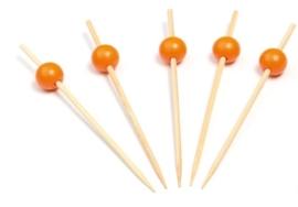 prikker bamboe met oranje bol (12 doosjes)