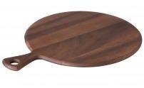 Pizza-/antipastaplank rond met handvat acacia
