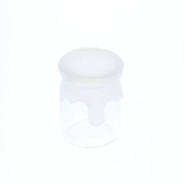 Yoghurtpotje glas met siliconen dekseltje