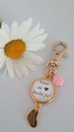 Sleutelhanger bloemetje *Voor de beste juf*