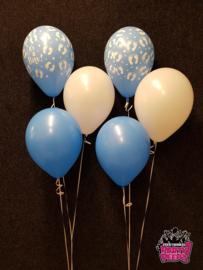 Helium- Tafeldeco 3 lichtblauw wit