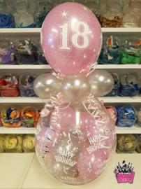 Verjaardag- Stuffer HB 18 zwart roze zilver