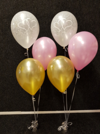 Helium- Tafeldeco 3 goud roze bedrukt wit