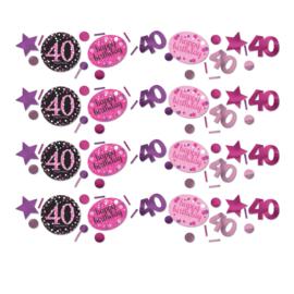 Pink 40 confetti