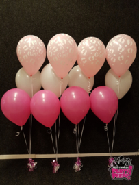 Helium- Tafeldeco 3 wit fuchsia bedrukt roze