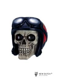 600527 schedel met lederen pilotenhelm
