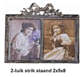 01962 tinnen fotolijst 2-luik strik staand 2x5x8